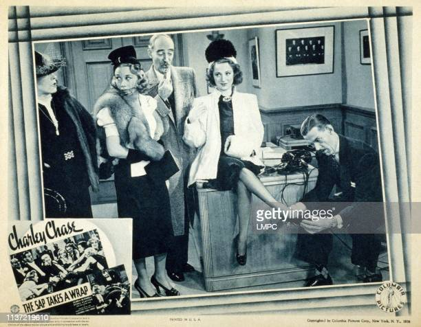 The Sap Takes A Wrap US lobbycard standing from left Ethel Clayton Gloria Blondell Harry Wilson Charley Chase 1939