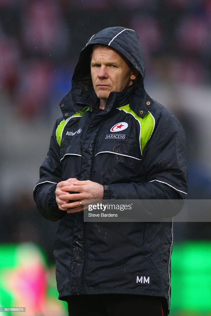 The Saracens Director of Rugby, Mark McCall looks on prior to the European Rugby Champions Cup match between Saracens and Northampton Saints at Allianz Park on January 20, 2018 in Barnet, England.