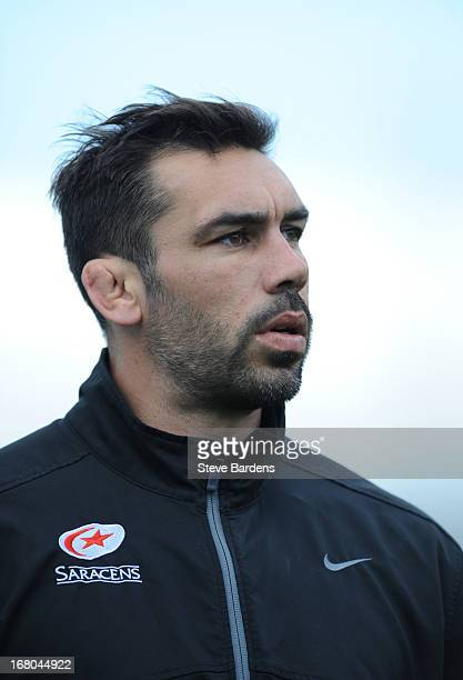 The Saracens forwards coach Pat Sanderson before the Aviva Premiership match between Saracens and Bath at Allianz Park on May 04, 2013 in Barnet,...