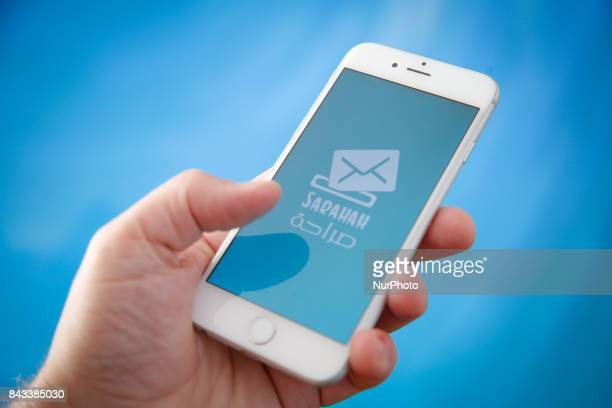 The Sarahah app is seen on an iPhone on 28 August 2017 in this photo illustration Saraha means honesty in Arabic and the app lets users send each...