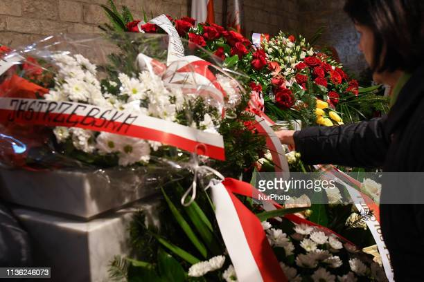 The sarcophagus covered with wreaths containing the late President Lech Kaczynski and his wife Maria Kaczynska in the Crypt of Wawel Cathedral in...