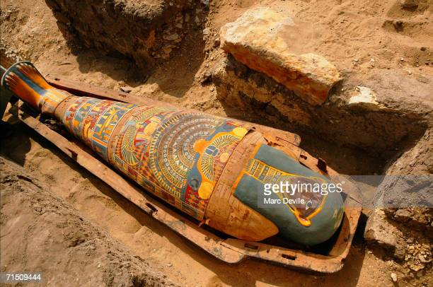 The sarcophagus of a rich merchant lays on an archeological site in August 2005 in Giza, Egypt. The Council chief Zahi Hawass says the sarcophagus is...