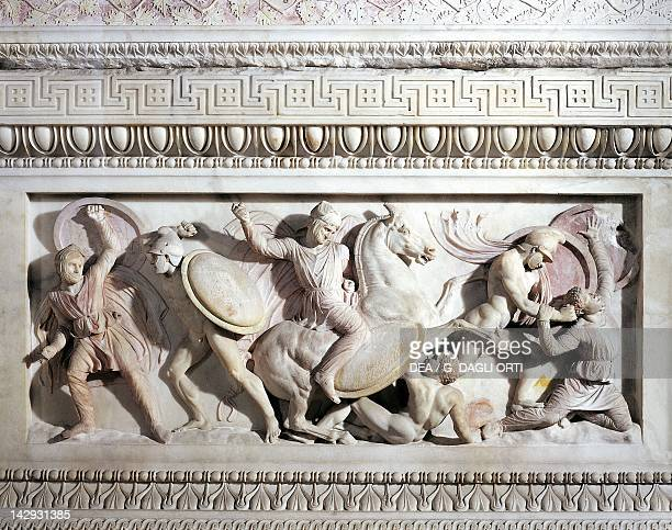 The sarcophagus of Alexander ca 310 BC marble work from Sidon Lebanon Detail of a battle between Greeks and Persians Greek civilization 4th Century...