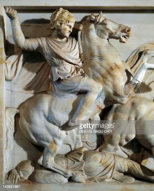 The sarcophagus of Alexander ca 310 BC marble work from Sidon Lebanon Detail showing Alexander on horseback fighting and on one of the Persians Greek...