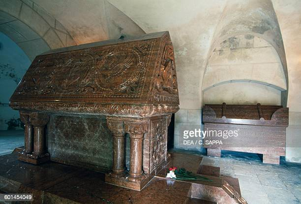 The sarcophagus of Count Jan Frantisek Palffy in the chapel of Bojnice castle Slovakia 12th19th century