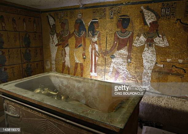 The sarcophagus of King Tutankhamun known as the 'Child Pharaoh' remains empty in its burial chamber after the mummy was placed in a glass urn...