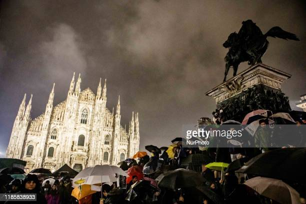 The Sardine movement, which throughout Italy is protesting against the former minister Matteo Salvini, is protesting in front of the Cathedral of...