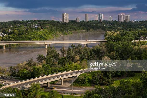 The Saskatchewan River is viewed from a downtown bluff on June 24 2013 in Edmonton Alberta Canada Edmonton along with its neighbor to the south...