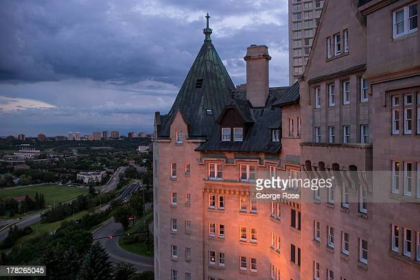 The Saskatchewan River is viewed from the Fairmont MacDonald Hotel on June 24 2013 in Edmonton Alberta Canada Edmonton along with its neighbor to the...