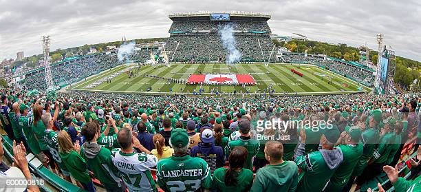 The Saskatchewan Roughriders take the field for the annual Labour Day Classic game between the Winnipeg Blue Bombers and Saskatchewan Roughriders at...