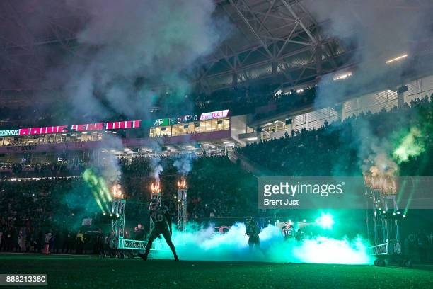 The Saskatchewan Roughriders take the field for the game between the Montreal Alouettes and Saskatchewan Roughriders at Mosaic Stadium on October 27...
