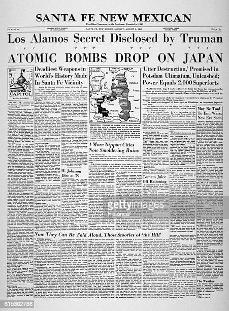 The Sata Fe New Mexican newspaper's front page features news about Harry S Truman's bombing of Hiroshima and Nagasaki on August sixth and ninth