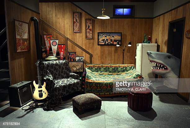 The Saturday Night Live Wayne's World set is on display during a media preview on May 29 at the Saturday Night Live The Exhibition celebrating the...