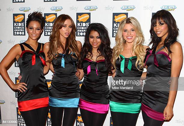 The Saturdays Frankie Sandford, Una Healy, Vanessa White, Mollie King and Rochelle Wiseman attend Nickelodeon Kids' Choice Awards UK at ExCeL on...