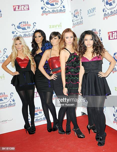 The Saturdays pose at The Jingle Bell Ball at the O2 Arena on December 10 2008 in London England
