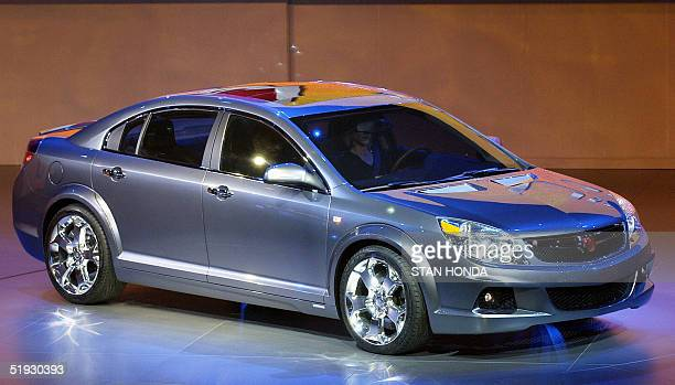 The Saturn Auraconcept car is pictured 09 January 2005 during the North American International Auto Show at Cobo Hall in Detroit MI AFP PHOTO/Stan...