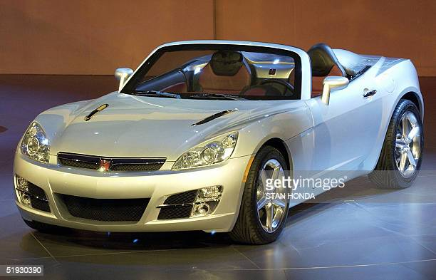 The Saturn Sky concept car is pictured 09 January 2005 during the North American International Auto Show at Cobo Hall in Detroit MI AFP PHOTO/Stan...