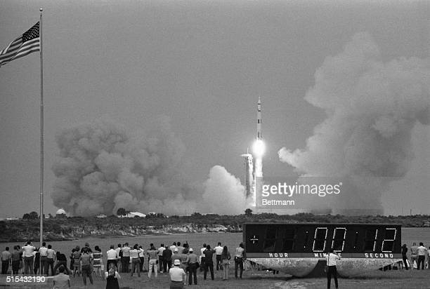 The Saturn V rocket lefts the Apollo 13 spacecraft from the pad to make its way to the moon The moon landing was cancelled three days later however...