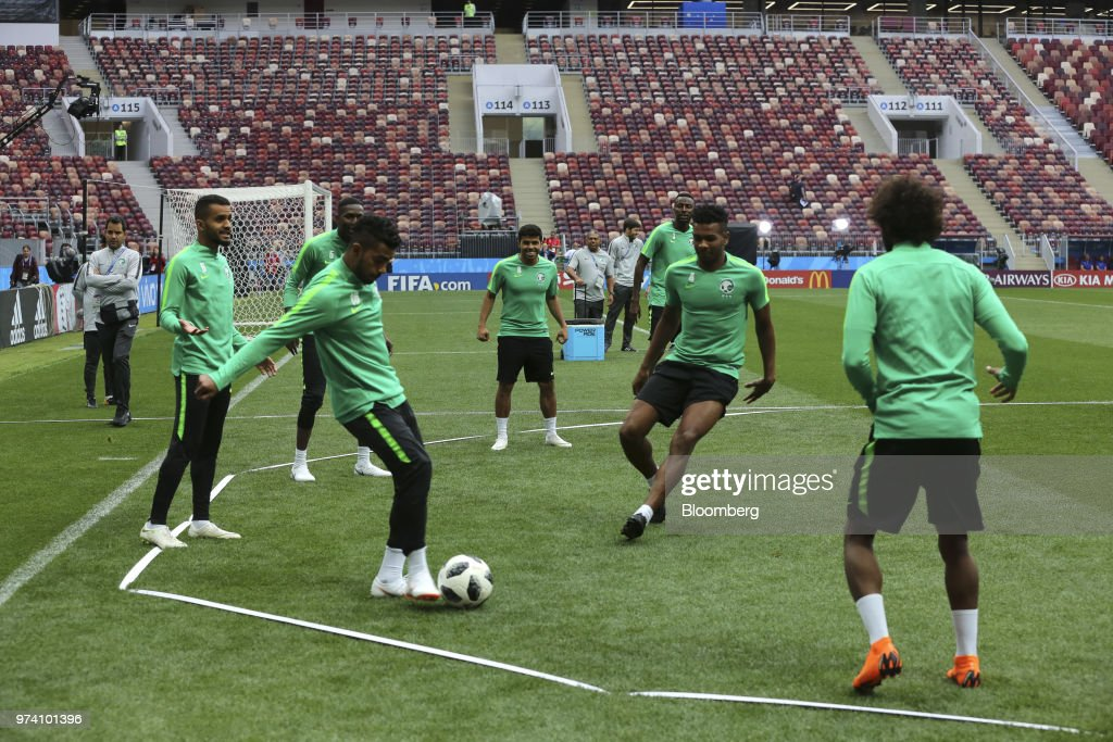 The Saudi Arabia football team practice ahead of the FIFA World Cup opening match at the Luzhniki stadium in Moscow, Russia, on Wednesday, June 13, 2018. According to an April report from the organizing committee, the total amount spent on preparations is 683 billion rubles, or about $11 billion at the current exchange rate. Photographer: Andrey Rudakov/Bloomberg via Getty Images