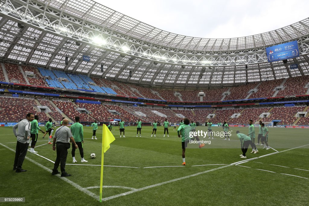 The Saudi Arabia football team train on the pitch during a practice session ahead of the FIFA World Cup opening match at the Luzhniki stadium in Moscow, Russia, on Wednesday, June 13, 2018. According to an April report from the organizing committee, the total amount spent on preparations is 683 billion rubles, or about $11 billion at the current exchange rate. Photographer: Andrey Rudakov/Bloomberg via Getty Images