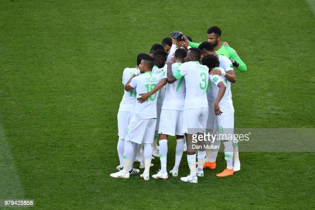 The Saudi Arabia players huddle prior to the 2018 FIFA World Cup Russia group A match between Uruguay and Saudi Arabia at Rostov Arena on June 20...