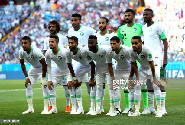 The Saudi Arabia players pose for a team photo prior to the 2018 FIFA World Cup Russia group A match between Uruguay and Saudi Arabia at Rostov Arena...