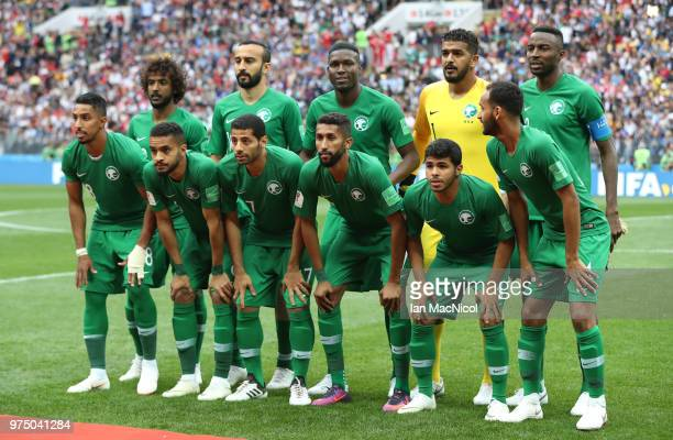 The Saudi Arabia team are seen during the Opening Ceremony during the 2018 FIFA World Cup Russia group A match between Russia and Saudi Arabia at...