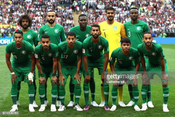 The Saudi Arabia team line up prior to the 2018 FIFA World Cup Russia Group A match between Russia and Saudi Arabia at Luzhniki Stadium on June 14...