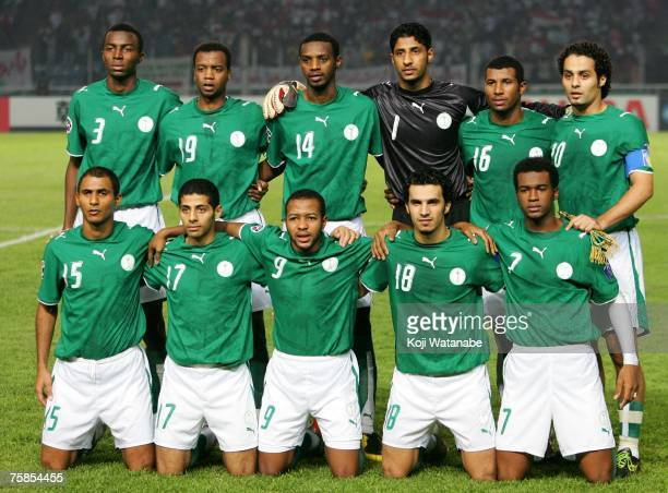 The Saudi Arabia team lines up for the start of the AFC Asian Cup 2007 final between Iraq and Saudi Arabia at Gelora Bung Karno Stadium on July 29...