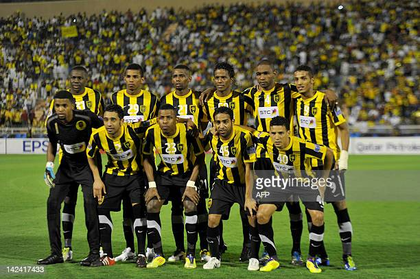 The Saudi Arabia'a alIttihad FC pose for a group photo prior to their match against Emirate's Baniyas FC in their AFC Champions League football match...