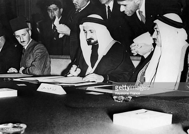 The Saudi Arabian Delegates Sign The Arab League Charter