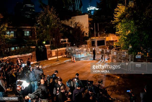 The Saudi Arabia's consulate is cordoned off by Turkish police in Istanbul on October 15 2018 during the investigation over missing Saudi journalist...