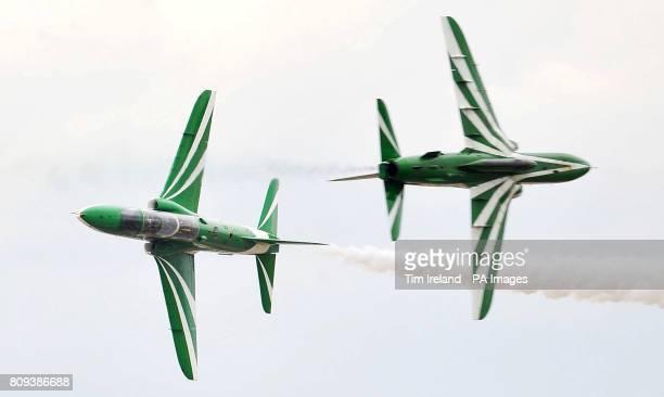 The Saudi Hawks Display Team rehearse at RAF Fairford ahead of this weekend's Royal International Air Tattoo.