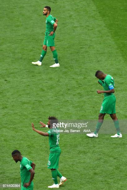 The Saudi players look dejected after Russia's third goal during the 2018 FIFA World Cup Russia group A match between Russia and Saudi Arabia at...