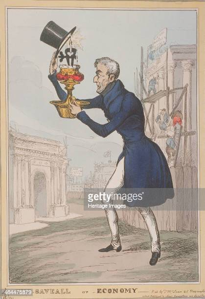 'The Saveall or Economy' 1828 The Duke of Wellington stands between Apsley House and the Triumphal Arch on Constitution Hill He holds a candlestick...