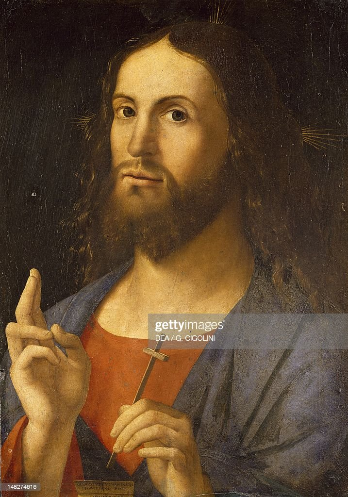 The Saviour Blessing, 1498, by Alvise Vivarini (1442 or 1453-died between 1503 and 1505), oil on panel, 51x36.5 cm. (Photo by DeAgostini/Getty Images) : News Photo
