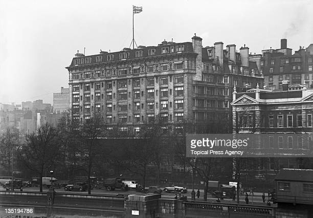 The Savoy Hotel and traffic on Victoria Embankment seen from Waterloo Bridge London 7th May 1931