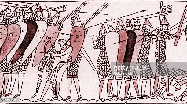 The Saxon Shield Wall Detail from the Bayeux Tapestry/ Tapisserie de Bayeux La telle du conquest a 05by6838metre long embroidered cloth depicting the...