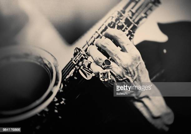 the saxophone player - fabolous musician stock photos and pictures