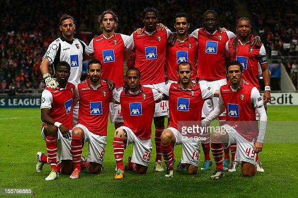 The SC Braga team pose prior to the UEFA Champions League Group H match between SC Braga and Manchester United at the Estadio AXA on November 7 2012...