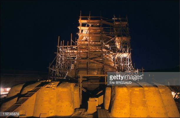 The scaffolding around the sphinx often takes on a supernatural dimension worthy of the 'prisons' of Piranese in Cairo Egypt on May 01 1990