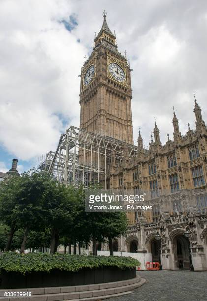 The scaffolding continues to rise during renovation work on the Elizabeth Tower at the Palace of Westminster London