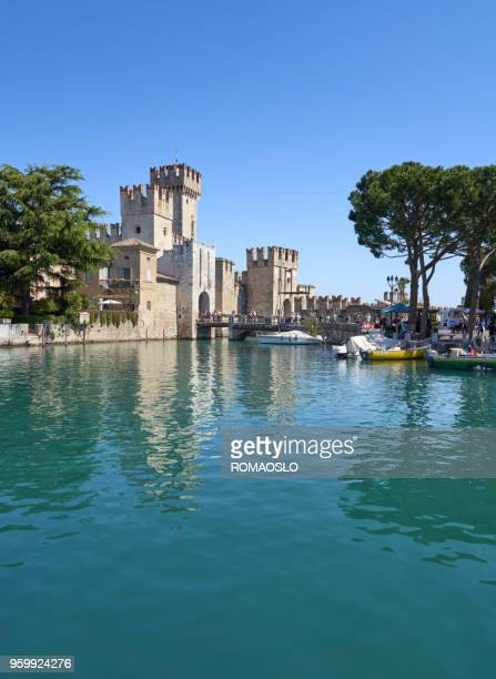 the scaliger castle in sirmione, lake garda lombardy italy - lombardy stock pictures, royalty-free photos & images