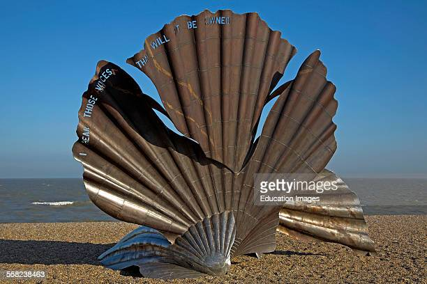 The Scallop shell sculpture by Maggi Hambling on shingle beach Aldeburgh Suffolk England