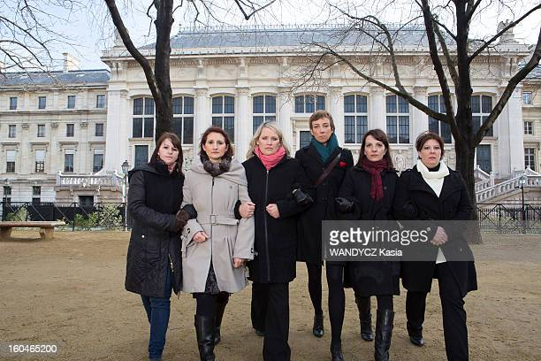 The scandal of contraceptives pills responsible for diseases and handicap for young women, some have brought complaints against pharmaceutical industry, six of them pose before testifying, Cyrielle Moulin, Mylene Adam, Anne-Flore Chanas , Sabrina Figueres, Stephanie Ringenbach, Nathalie Froger in Paris on January 27,2013.