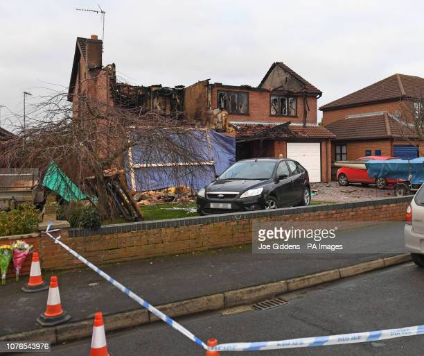 The scene after a house fire in Peartree Road Kirton near Boston in Lincolnshire where police have launched a domesticrelated murder investigation...