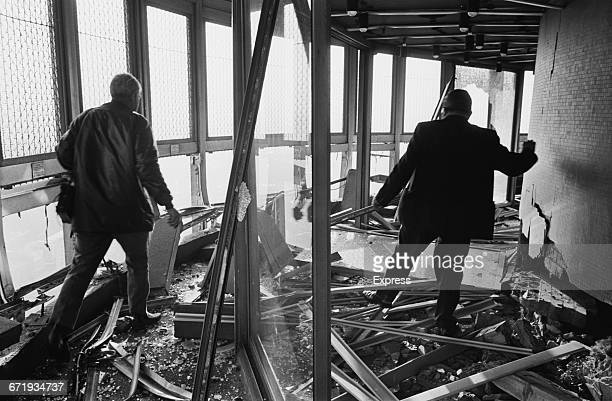The scene after an IRA bomb exploded at the Post Office Tower in London UK 31st October 1971 The damage was extensive but nobody was injured