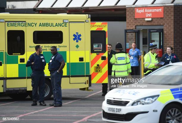 The scene at Manchester Royal Infirmary as the death toll from the Manchester bomb attack rose to 22 with 59 injured Greater Manchester Police chief...