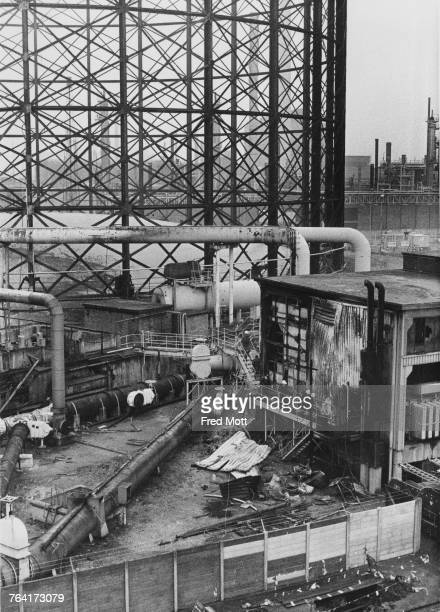 The scene at the East Greenwich Gas Works London the morning after a bomb planted by the Provisional Irish Republican Army caused a major fire 18th...
