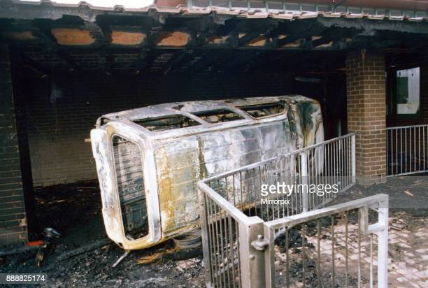 The scene at the Moorside Community School Newcastle after rioters returned their stolen Vauxhall Astra van in the building 11th September 1991